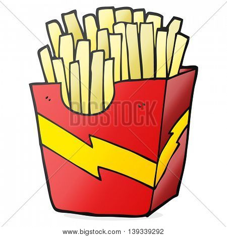 freehand drawn cartoon french fries