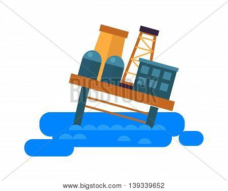 Sea oil rig platform crash symbol and oil drill rig in sea flat vector.