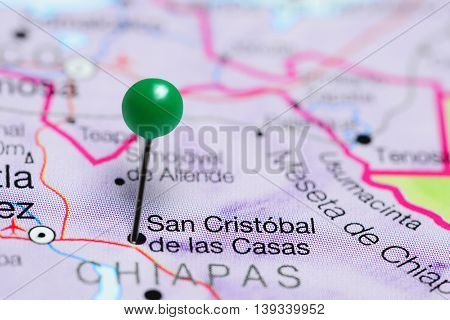 San Cristobal de las Casas pinned on a map of Mexico