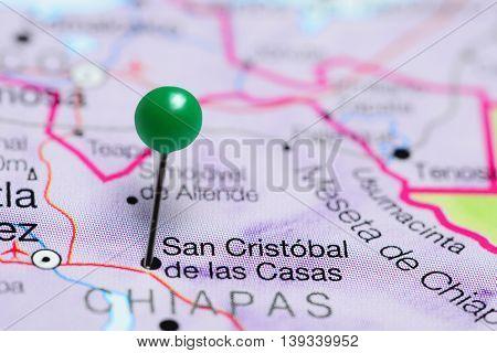 San Cristobal de las Casas pinned on a map of Mexico