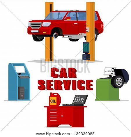 Vector concept car services - car repair and diagnostics. Tire fitting service and tuning. SUV raised by twin post lifts