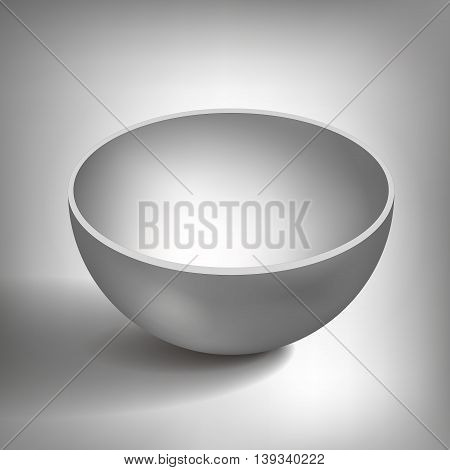 Vector volume half of a hollow sphere, open ball, plate, abstract object for you project design