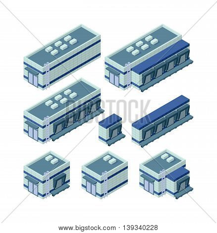 Isometric factory building vector icon. Industrial building infographic element