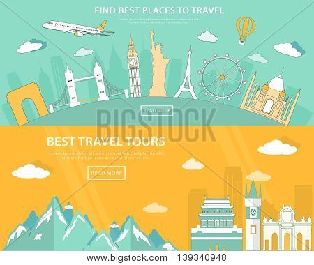 Flat design illustration concepts for travelling and tourism. web banner with set of world landmarks and places to travel