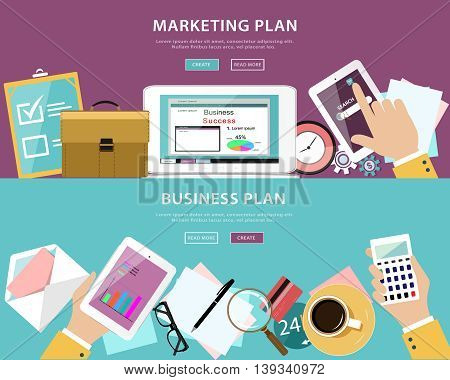Flat style concept of business and marketing plans in web design. Detailed vector set: table with computer, tablet, notes, pen, envelope, glasses, cards, bag, coffee cup.