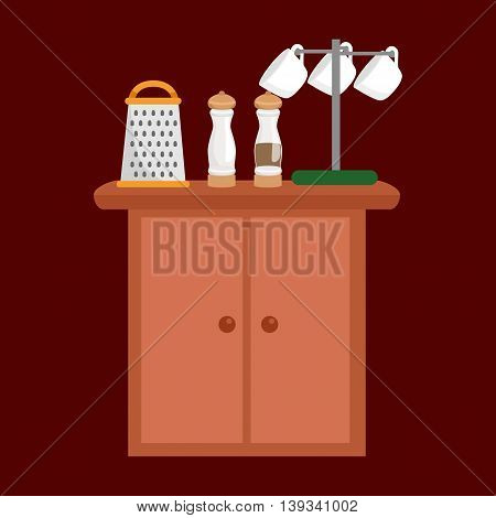 salt and pepper bottle, cup and grater on table kitchenware icons vector set, cooking equipment, cartoon kitchen utensil, domestic cooking tools, steel kitchen household cutlery isolated vector illustration