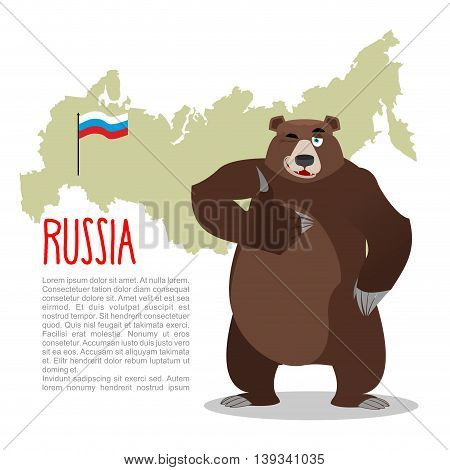 Russian Bear And Russian Map. Wild Animal Showing Thumbs Up And Winking. Good Animal Sign Okay.