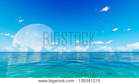 Full moon over blue sea and sky clouds 3D rendering