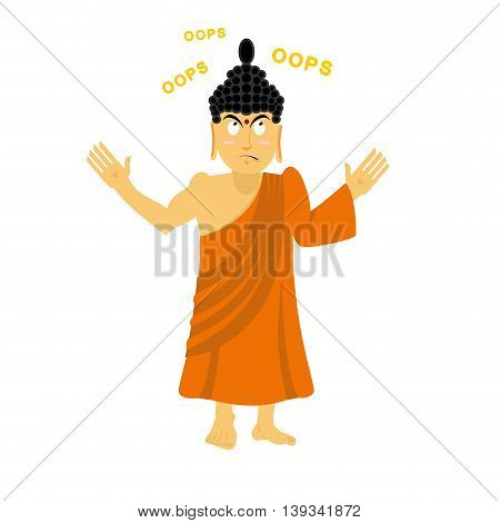 Surprised Buddha Says Oops. Perplexed Indian God. Supreme Teacher For Buddhists. Holy Man In Orange