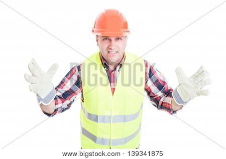 Male Builder With Bad Attitude Looking Furious
