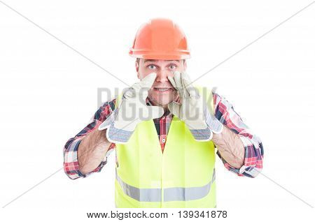 Builder In Safety Uniform Announcing Something