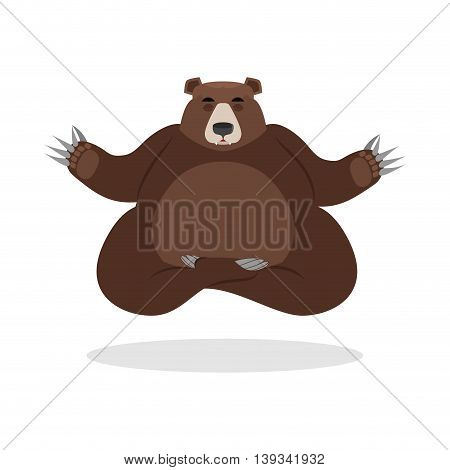 Bear Meditates. Wild Animals On White Background. Status Of Nirvana And Enlightenment. Lotus Pose. B