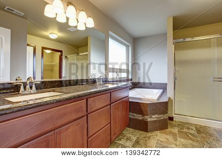Bathroom Interior With Vanity Cabinet, Two Sinks And White Bath Tub