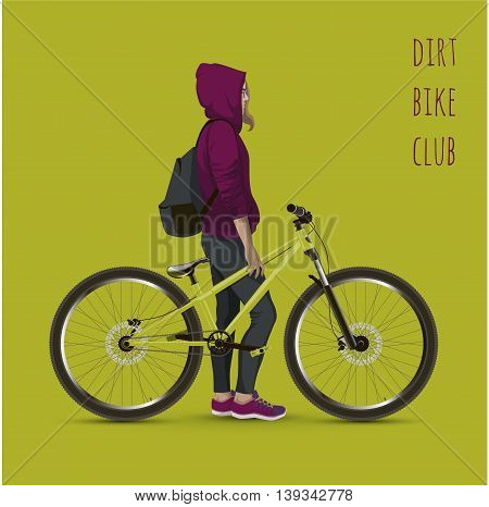 Young girl with a bicycle. Background with text and green color.