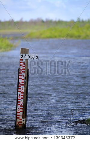 Water level scale in a Swedish lake.