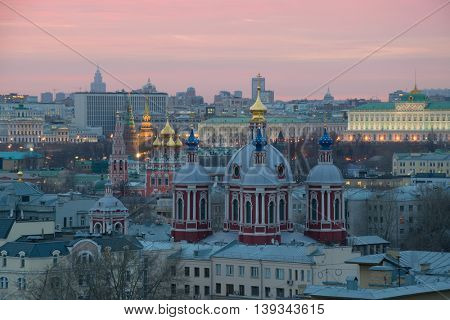 Orthodox churches and Big kremlin Palace during sunset in Moscow, Russia