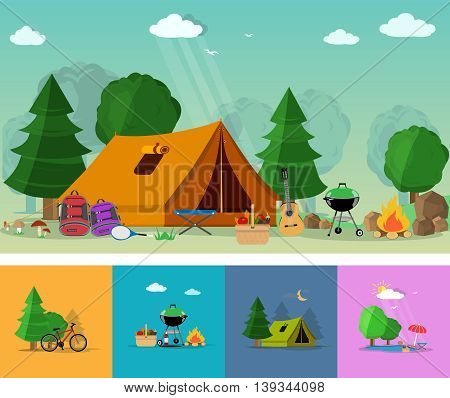 Flat style concept of hiking, tourism and outdoor recreation with travel icons. Set of flat elements: guitar, basket with food, barbecue, tent, backpacks, trees, bonfire vector illustration