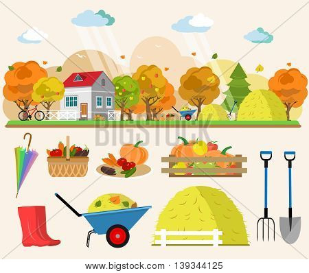 Flat style concept illustration of autumn landscape with house, rain, haystacks, baskets of vegetables, trees, tools for garden. Vector set