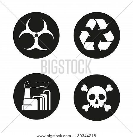 Industrial pollution icons set. Biohazard and recycle symbols, chemical plant and skull with crossbones. Vector white illustrations in black circles