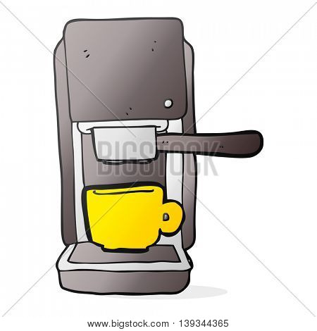 freehand drawn cartoon espresso maker
