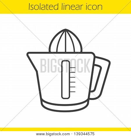 Juicer linear icon. Squeezer thin line illustration. Juice extractor contour symbol. Vector isolated outline drawing