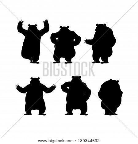 Bear Set Silhouette. Grizzly Various Poses. Expression Of Emotions. Wild Animal Yoga. Eevil And Good