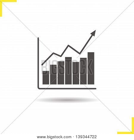 Growth chart icon. Drop shadow income increase silhouette symbol. Financial progress. Diagram with curve vector isolated illustration