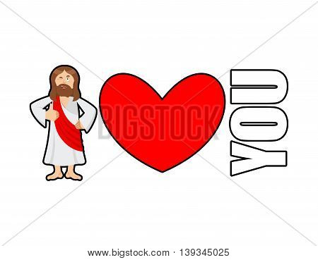 Jesus Loves You. You Need Gog. Symbol Of Heart And Son Of God. Biblical Characters. Holy Man. Religi