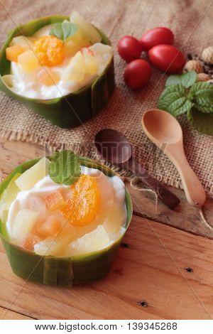 mix fruit salad topping on tofu milk