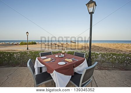 Outdoor Dining Table In Tropical Hotel Resort