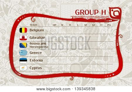 Football world championship European qualifiers matches group I table of results layering easy editable vector template