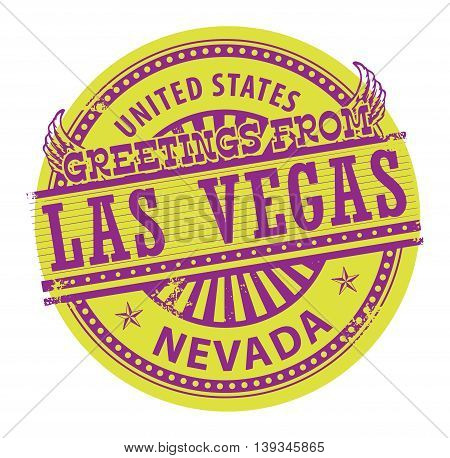 Grunge rubber stamp with text Greetings from Las Vegas, Nevada, vector illustration