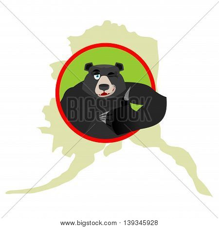 American Black Bear Baribal And Alaska. Grizzlies Showing Thumbs Up And Winks. Good Animal Sign Okay