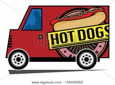 Hot Dogs delivery truck on white background, vector illustration