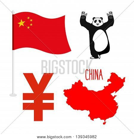 China Symbol Icons Set. Map And Flag Of Country. Sign Of National Currency Yen. Panda Bear Chinese N