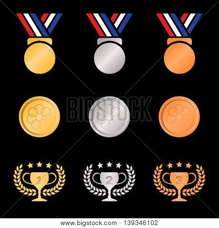 Gold Silver Bronze Medal And Trophies Olive Wreath (gradients Color) On Black Background