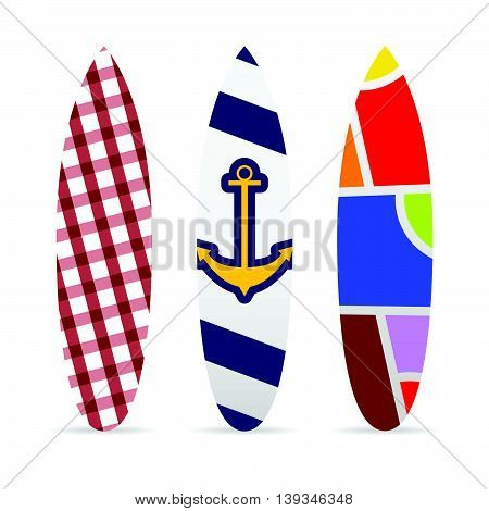 Surfboard Set With Various Textured Illustration
