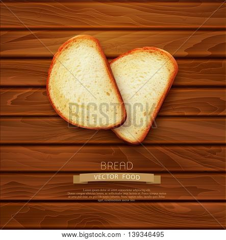 vector background with slices of sliced bread (loaf) lying on the wooden background