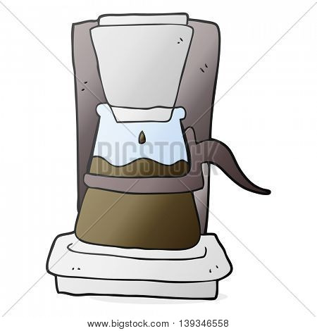 freehand drawn cartoon drip filter coffee maker
