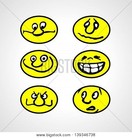 Set of Hand drawn Cartoon Smilies. Emoticon. Vector style smile face icons
