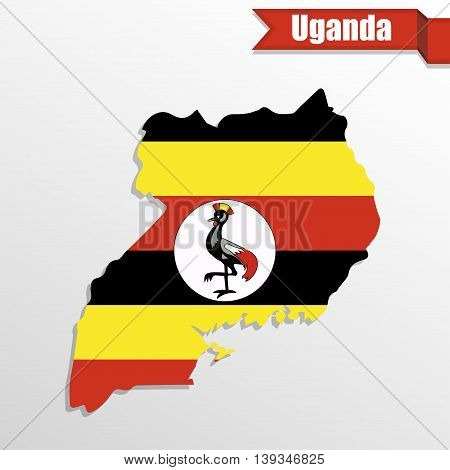 Uganda map with flag inside and ribbon