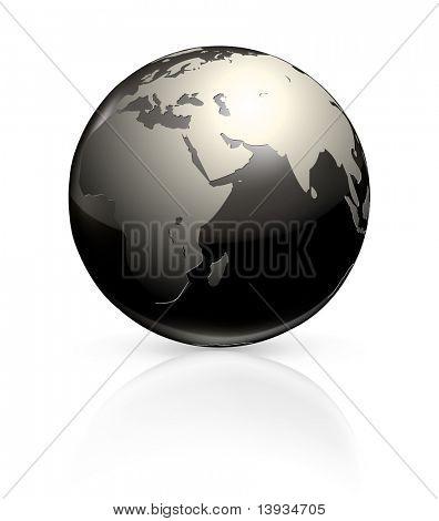 Black globe, vector