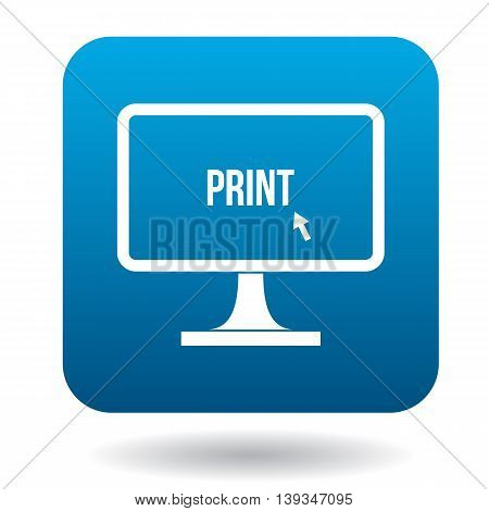 Print word on a computer monitor icon in simple style on a white background