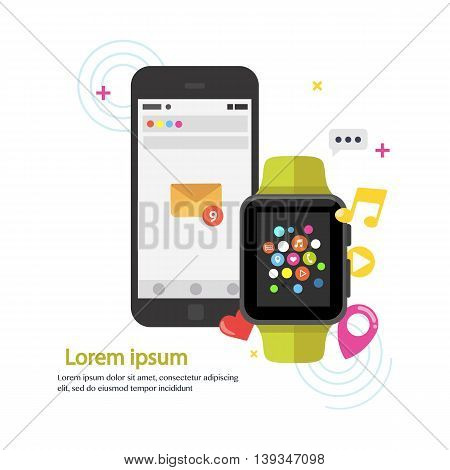 Smart watch device display with app icons and smartphone. Smart watch technology . Flat design vector illustration