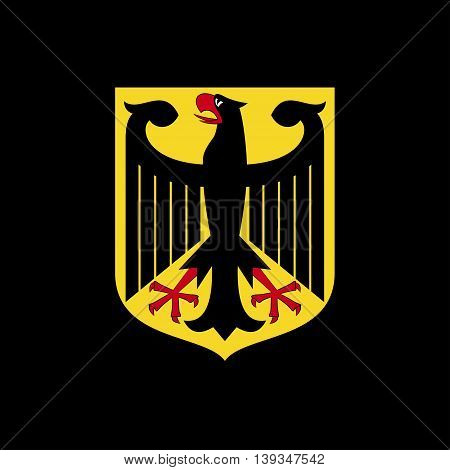 National arms of Germany. Logo on a black background