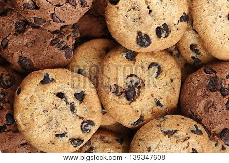 Cookies With Chocolate Chip Assorted. Close Up Background. Top View.