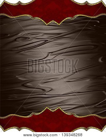 Brown Background With Red Decorations. Template For Design. Copy Space For Ad Brochure Or Announceme