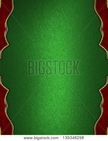 Green Background With Red Decorations. Template For Design. Copy Space For Ad Brochure Or Announceme