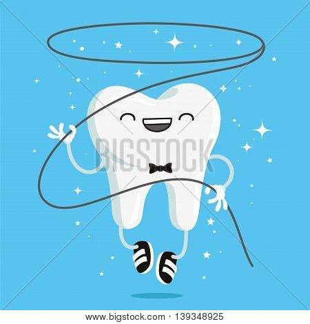 Happy healthy tooth with flossing and in black sneakers. Vector illustration on a blue background. Concept of children's dentistry. Excellent dental card. Cute character. Caries prevention.