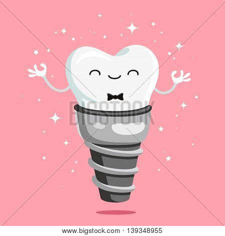 Happy healthy tooth implant. Vector illustration on a pink background. Concept of dentistry. Excellent dental card. Cute character. Caries prevention.